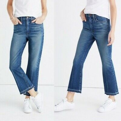 6015cbcc099 MADEWELL Size 27 Retro Crop Bootcut Jeans In Callahan Wash Distress Hem