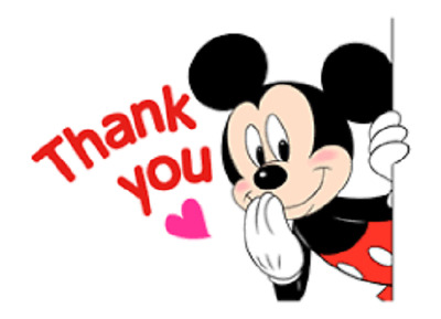 """48 Thank You Cute Mickey Mouse Sticker Label Envelope Seals 1.2"""" Round"""