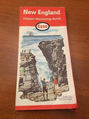 1965 ESSO HUMBLE OIL Road Map NEW ENGLAND Massachusetts Connecticut Maine Boston