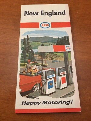 1967 ESSO HUMBLE OIL Road Map NEW ENGLAND Massachusetts Connecticut Maine Boston