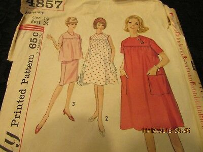 e1520ed1dad6f Vintage 50s Misses Maternity House Dress Housedress 14 Simplicity 4857  Pattern