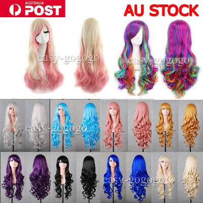 Women Long Anime Full Hair Wigs Rainbow Curly Wavy Straight Deluxe Wig Cosplay W