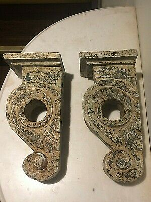 Pair Of Antique Sculpt Architectural Wood Wall Corbel  Sconces Shelves