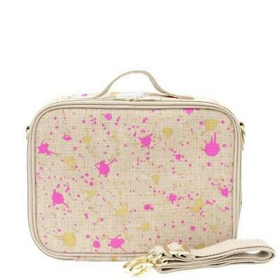 NEW So Young Insulated Lunch Bag Box Raw Linen - Fuchsia Gold Splatter