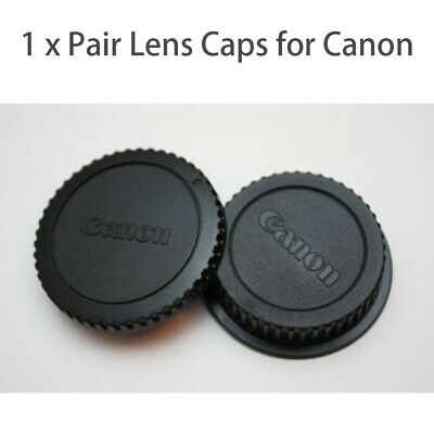 1 x Pair Snap-On Rear Lens Cover+Camera Body Front Lens Caps For Canon EOS DSLR