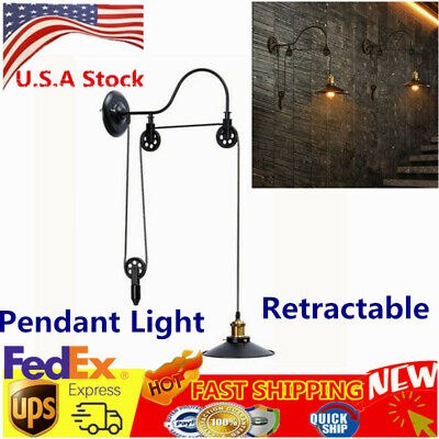 Vintage Ceiling Hanging Retractable Pendant Pulley Light Lamp for Decoration USA