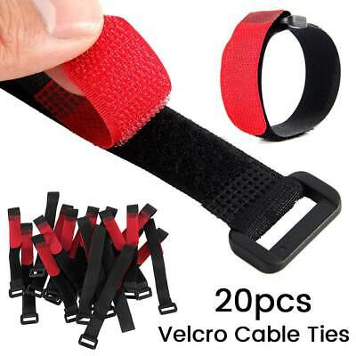 Black Red Cable Ties Velcro Strap Tape Cable Organizer 195mmx25mm 20pcs NEW