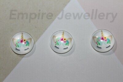 2 x Unicorn Face #1 12x12mm Glass Cabochons Cameo Dome Horse Magical Pony