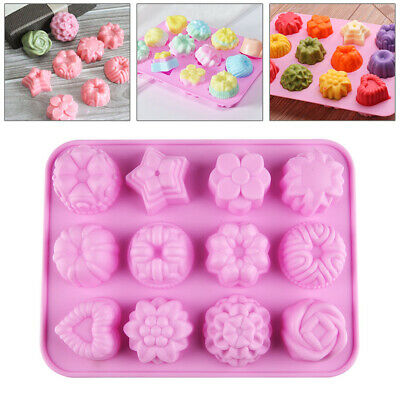 12 Silicone Flower Heart Cakes Silicone Mould Cake Decorating Baking Icing Mold