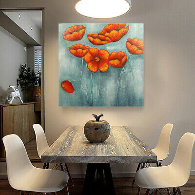 Hand Painted Art Oil Painting Stretched Canvas Home Decor - Framed Red Flowers