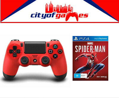 Marvel's Spider Man PS4 Game & Genuine PS4 DualShock 4 Red Wireless Controller