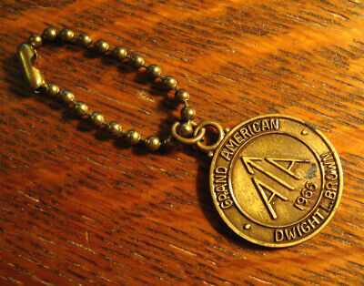 Grand American Dwight L. Brown Keychain - Vintage 1966 A^A Gold Medal Keyring
