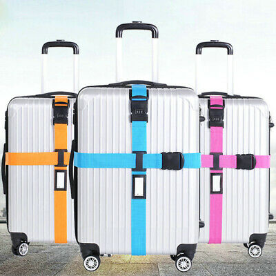 Adjustable Luggage Suitcase Cross Strap Travel Baggage Storage Bag Belt esz