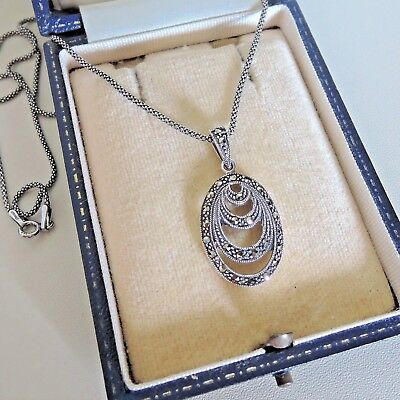Sterling Silver Art Deco Style Marcasite Pendant Necklace
