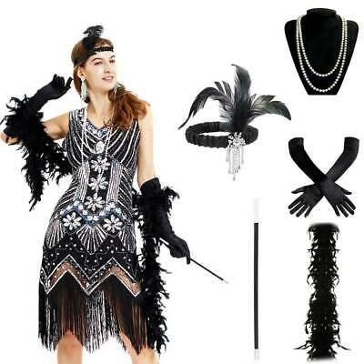 Ladies Girl Gatsby Fancy Dress Flapper 1920'S Charleston Costume Accessories Set