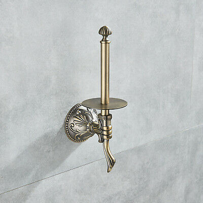 Roll Toilet Paper Holder  Bathroom Antique Brass Accessories Upright  Wall Mount