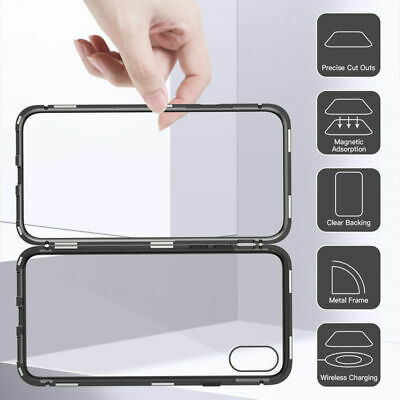 For iPhone X XS Max XR Magnetic Adsorption Metal Bumper Case Temper Glass Cover