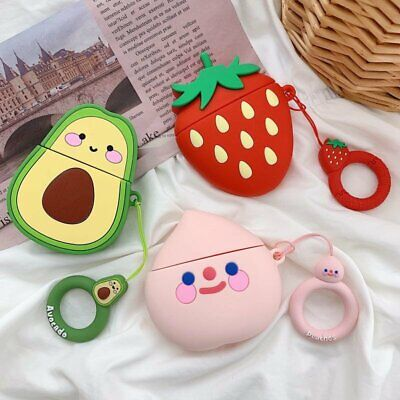 Cute cartoon fruit Shockproof Silicone Cover Earphone Case For Apple AirPods