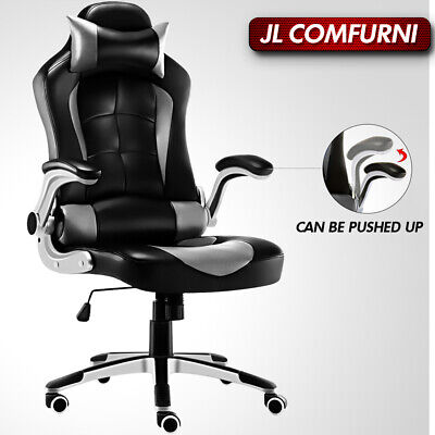 Executive Office Racing Gaming Chair Swivel Adjustable PU Leather Computer Desk