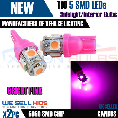 2x NEW 5 SMD LED 501 T10 w5w PINK sidelights Interior lights Xenon bulbs UK