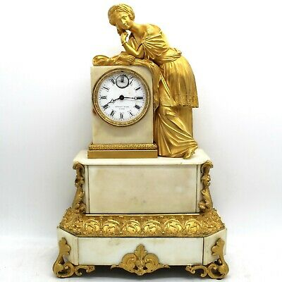 Antique Louis Philippe Pendulum mantel Clock ormolu in Bronze and marble - 19th