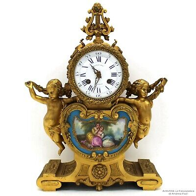 Antique Louis Philippe Pendulum mantel Clock ormolu Bronze Sèvres Porcelain 19th