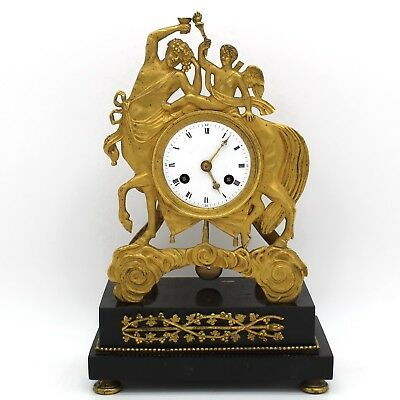 Antique Empire Pendulum mantel Clock ormolu in Bronze and Marble - 19th century