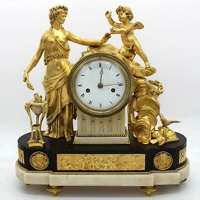Antique Louis XVI Pendulum mantel Clock ormolu in Bronze and Marble 18th century
