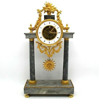 "Antique Pendulum mantel Clock ormolu Bronze and Marble ""republican hour"" 1793 ca"