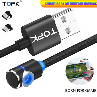 TOPK 360° L Shape Magnetic LED Magnet Charger Cable Game Cord Android Type C