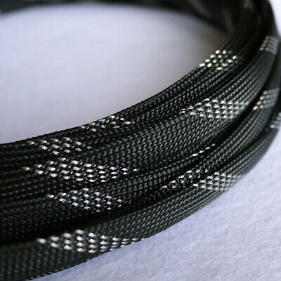 PET Auto Wire Harnessing Black/&Silver 3-25mm Braided Cable Sleeving//Sheathing