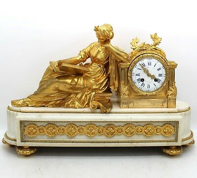 Antique Napoleon III Pendulum mantel Clock ormolu in Bronze and marble - 19th