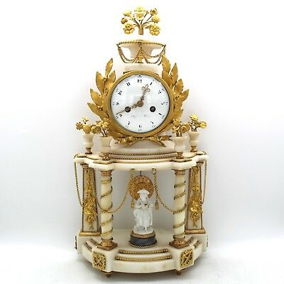 Antique Louis XVI Pendulum mantel Clock ormolu (H.55) Bronze Marble Biscuit 18th