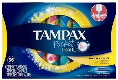 Tampax Pocket Pearl Plastic Tampons Regular Absorbency Unscented 36 Count