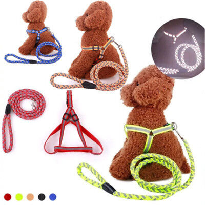 Night Safety Adjustable Reflective Dog Harness & Leash Collar Pet Lead Belt Rope