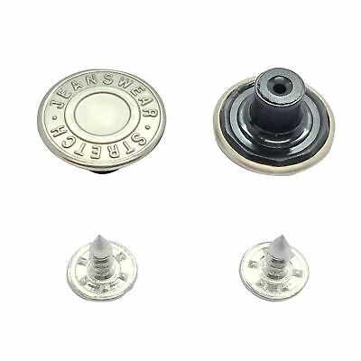 17mm Hammer On Silver Denim Jeans Buttons 100 Pack