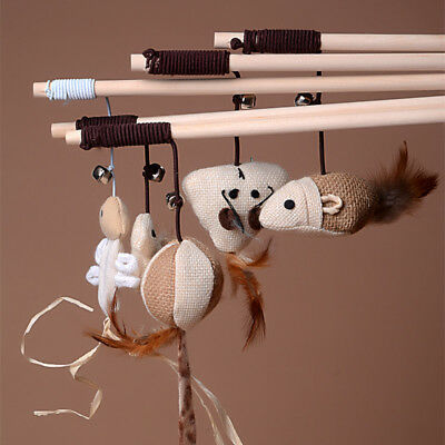 Pet Dog Cat Toy Cute Bird Feather Teaser Training Wooden Stick Wand Mice For Kid