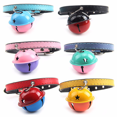 Pet Dog Cat PU Leather Neck Strap Puppy Buckle Adjustable Collar & Bell Necklace