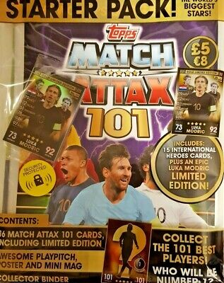 Topps Match Attax  101 Trading Card Game = Starter Pack Inc 15 Cards + Ltd Ed