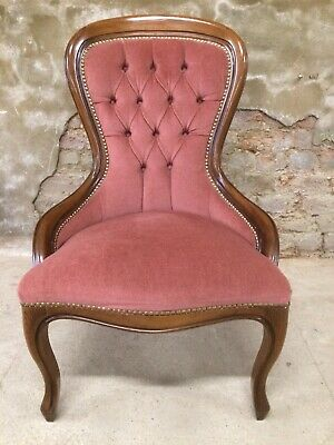 Vintage French Louis Style Pink Velvet Studded Wooden Bedroom / Nursing Chair