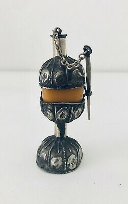 Rare Antique Moroccan Bedouin Kohl Handmade Intricate Metal Amber Wood Makeup