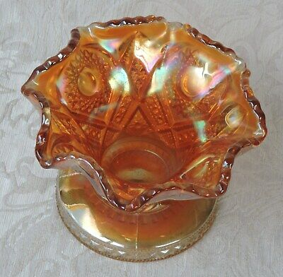 Imperial Marigold Carnival Art Glass Punch Bowl Base Coppa Vaso Vintage c1900
