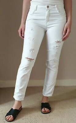 Ladies White Cotton ZARA Jeans Size 8