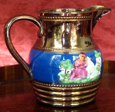 Antique Pottery attractive Staffordshire Victorian copper lustre pottery Jug