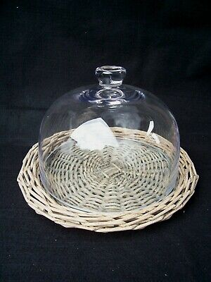 Gisela Graham Wicker Base Glass Lid Cheese Cake Glass Dome Cover Cheese Stand