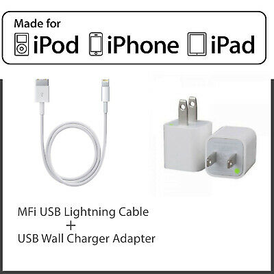 MFi Certified Lightning Cable for Apple, 3FT & 5W USB Wall Plug Charger LOT