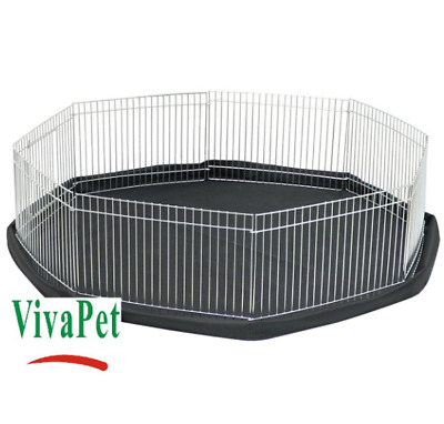 Octagon Fence Small Pet Run Cage Pen Play Safe Space Indoor or Outdoor Black Mat