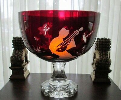 HUGE Bohemian CHINOISERIE CUT TO CLEAR GLASS RUBY RED COMPOTE FRUIT BUNCH BOWL!