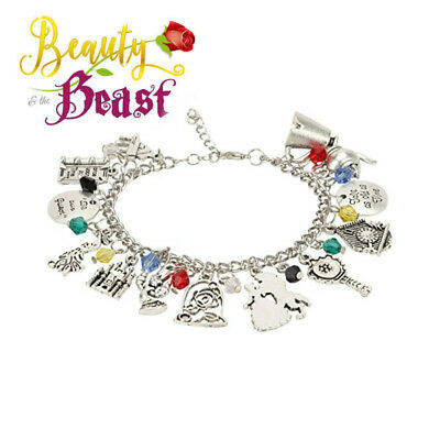 Disney's Beauty and the Beast (13 Themed Charms) Assorted Metal Charm Bracelet