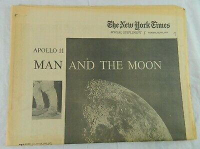 1969 New York Times Apollo 11 Man & The Moon Newspaper Armstrong Aldrin Collins